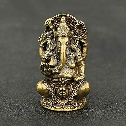 QWERWEFR Mini Vintage Messing Ganesha Statue Tasche Indien Thailand Elefantengott Figur Skulptur Home Office Schreibtisch Dekorative Ornament Geschenk