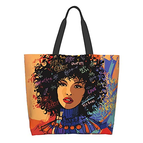 Wtonlaide Afro Girl Shoulder Bag 3d Printed Tote Bag Shopping Bag Canvas Tote Bag For Womans