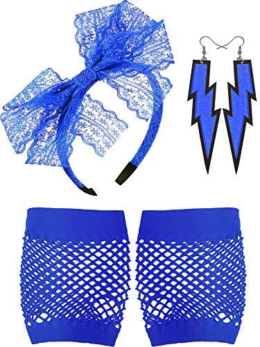 Blulu Diadema de Encaje de los Años 80 Pendientes de Neon Guantes de Malla sin Dedos para Fiesta de los Años 1980 (Azul)