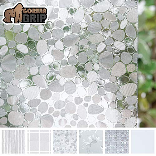 Gorilla Grip Original Window Privacy Film, Removable Static Cling Treatment for Windows, Non Adhesive No Residue Easy Trim Films for Sun Blocking, Office, Bathroom, Crystal Pebble, 17.7 x 78.7 Inches