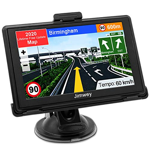 SAT NAV 2020 Map, Jimwey GPS Navigation 5 Inch for Car Lorry Truck with Voice Guidance and Speed Camera Warning, Lifetime Free Maps Update