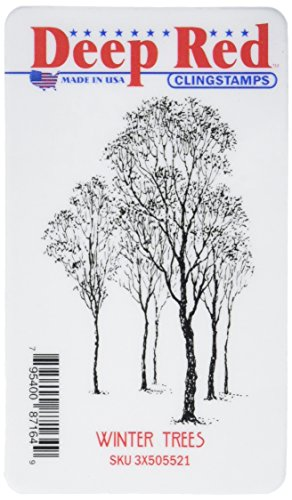 Deep Red Stamps 3X505521 Cling Stamp, 2' x 3', Winter Trees, Red