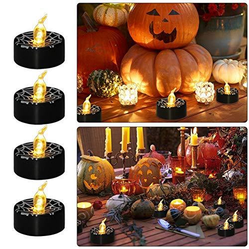 HS-HWH219 Halloween Retro spinnen-net-candle-licht-batterij eenvoudig aangedreven zachte verlichting hoofddecoratie 12 verpakkingen te gebruiken
