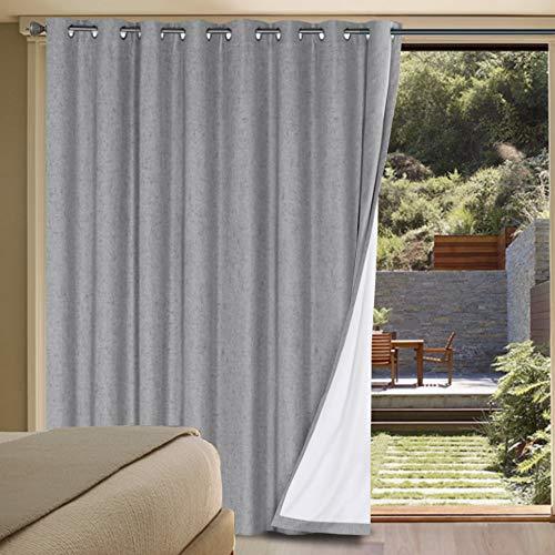 H.VERSAILTEX Linen Blackout Curtains Durable Thick Textured Linen Look 100% Blackout Patio Door Curtain Anti Rust Grommet Extra Wide Sliding Door Curtain Panel, W100 x L84 inch - Dove Gray