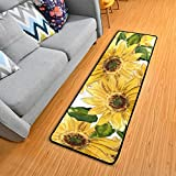 Blooming Sunflowers Kitchen Rugs Non-Slip Soft Doormats Bath Carpet Floor Runner Area Rugs for Home Dining Living Room Bedroom 72' X 24'