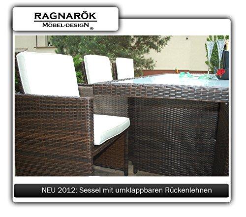 Ragnarök-Möbeldesign PolyRattan Essgruppe DEUTSCHE Marke - EIGNENE Produktion Tisch + 6 Stuhl & 4 Hocker - 8 Jahre GARANTIE - Garten Möbel incl. Glas und Sitzkissen braun Gartenmöbel - 3
