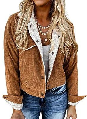 Sidefeel Women Corduroy Long Sleeve Button Up Lapel Fleece Sherpa Lined Short Jacket Coat Medium Brwon
