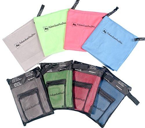 AdventureAustria Asciugamano Microfibra Set (2 Pezzi) Include Asciugamano Piccolo & Grande - Ideale per Palestra Yoga Ciclismo Campeggio Spiaggia Viaggi ECC. Borsa per Il Trasporto Inclusa. (Azzurro)