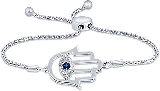 La Joya 0.07ct (IJ I2-I3) Round White Diamond Sterling Silver Adjustable Hamsa Evil Eye Hand of God Bolo Bracelet