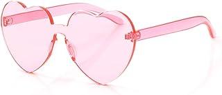 OLINOWL Heart Oversized Rimless Sunglasses One Piece Heart Shape Eyewear Colored Sunglasses for Women