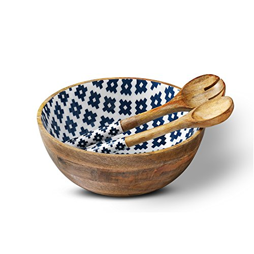 Wood Salad Bowl or Serving Bowls, Colorful Wooden Bowl with 2 Salad Servers or Tongs or Spoons, Mango Wood Large Mixing Bowl for Fruits, Pasta, Cereal and Vegetable - 12' D x 5' H, Geometric