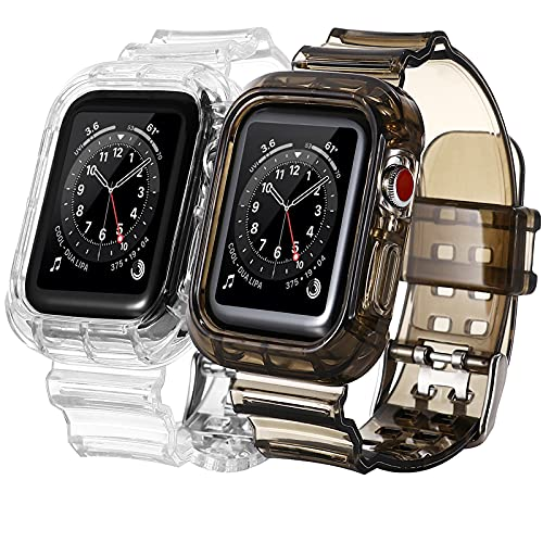 [2 PACK] Bands Compatible with Apple Watch Bands 38mm 40mm for Women Men, Transparent Clear Sports iWatch Bands with Bumper Case Replacement for Apple Watch SE & iWatch Series 6 5 4 3 2 1