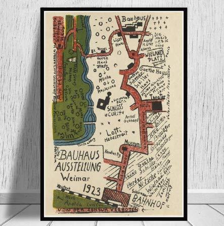 qiaolezi Bauhaus Ausstellung Weimer Ausstellung Poster Wandkunst Bild Leinwand Malerei Plakate und Drucke für Raum Wohnkultur A127 50 × 70CM ohne Rahmen