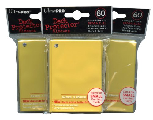 Ultra Pro Card Supplies YuGiOh Sized Deck Protector Sleeves Yellow 60Count X3