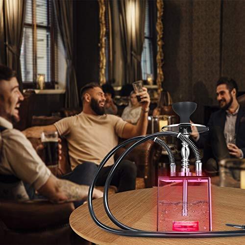 GJCrafts Juego de pipas de agua, 2 tubos, juego de shisha para fiesta fumador, Pipa de aguacon mando a distancia, colorido LED Shisha árabe Hookah, para uso doméstico y fiesta
