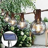 Guddl Solar String Lights G40 Patio Lights with 25 LED Globe Bulbs 27ft Outdoor String Lights for Backyard Garden Gazebo Porch Pergola Bistro Pergola Party Decor, E12 Base, 2700K