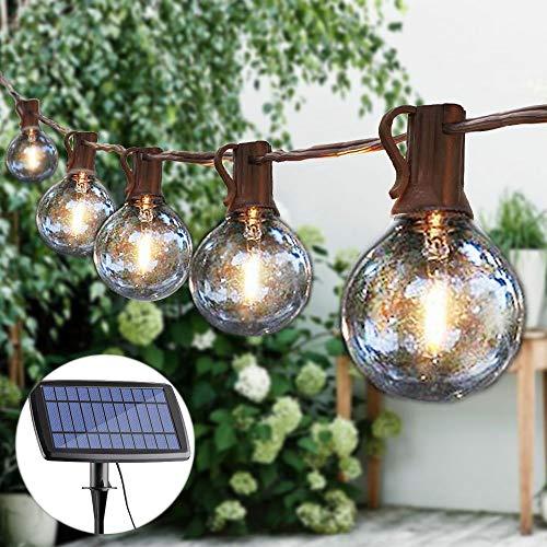 Guddl G40 Globe String Lights Solar Powered Commercial Grade 25 Hanging Socket 25 LED Bulbs Outdoor/Indoor Lights for Wedding Christmas Camping RV Garden Patio Gazebo Porch Pergola Bistro