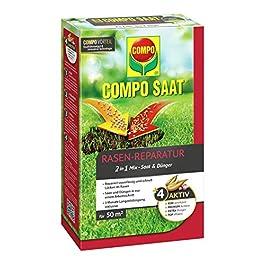 Compo Saat® kit de réparation du Gazon Comprenant des graines et de l'engrais, Gazon à semer et Engrais en Une Seule…
