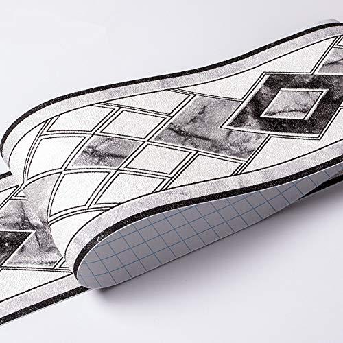Papel pintado impermeable para pared, diseño 3D, autoadhesivo, para cocina, baño, Banggo, 10,6 x 500 cm (gris)