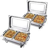 COSTWAY Scaldavivande Professionale, Chafing Dish, Ideale per Buffet Hotel Feste, in Acciaio Inox,...