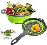 Conjunto de colador plegable de silicona, Nateer Colador de colador de cocina Nanateer, sobre el fregadero de frutas vegetales, colador plegable para cocina (paquete de 2)