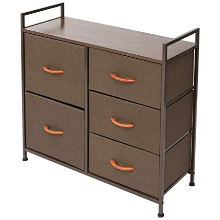 Wide Dresser Organizer with 5 Drawers Sturdy Steel Frame with Solid Wood Top