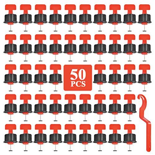 FOCCTS 50 Stück Fliesennivelliersystem Fliesennivellierer mit Spezialschlüssel, wiederverwendbare Fliesenausgleichssysteme für den Bau von Fußböden, Wände, Bodenwandkonstruktion, Austauschbare Nadel