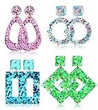 JOERICA 4 Pairs Statement Dangle Earrings for Women Girls Acrylic Exaggelated Large Drop Geometric Earrings Set