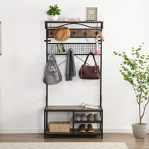 O&K FURNITURE 5 in 1 Industrial Hall Tree with Hooks 73-Inch Entryway Coat Rack Shoe Bench Storage Organizer with Grid Panel Vintage Brown Finish