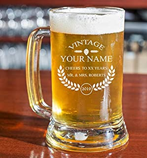 PersonalizedBeer Glass - Custom Engraved Beer Mug, Pint Glass, Pilsner Glass, Pitcher. | Add your own Engraved Text - Vintage Design (Beer Mug 16oz)