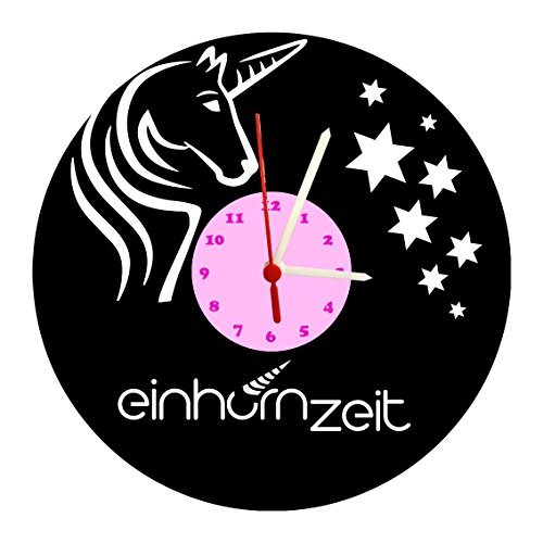 Kinderuhr, Wanduhr, Einhorn, Sterne, Design Schallplattenuhr mit Quarzwerk & Ziffernblatt