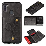 Greaked for Samsung A31/A21S/A11 PU Mobile Phone Case Shell Back Cover with Cards Slot Black Samsung A11