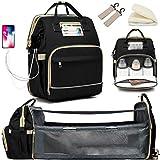 Granrouto Mamma - Mochila multifunción para cambiador con cuna para recién nacido, bolso cambiador, bolso cambiador, bolso cambiador, bolso cambiador, gran capacidad para mamá y papá Negro L