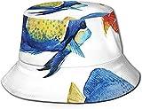 Tropical Acuario Life Discus Fish and Goldfish en diferentes patrones unisex impresión doble cara reversible cubo sombrero, plegable verano viaje cubo playa sol sombrero