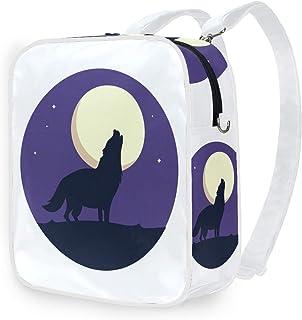 DEZIRO - Mochila de hombro con diseño de lobo aullando luna llena