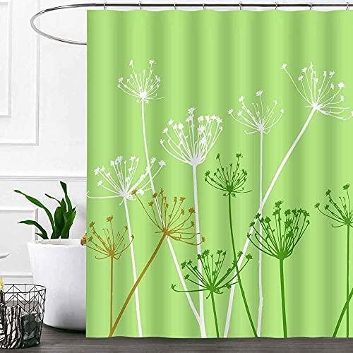 Distel Duschvorhang Sets Grün Weiß Braun Löwenzahn Blumen Licht Cyan Badezimmer Gardinen