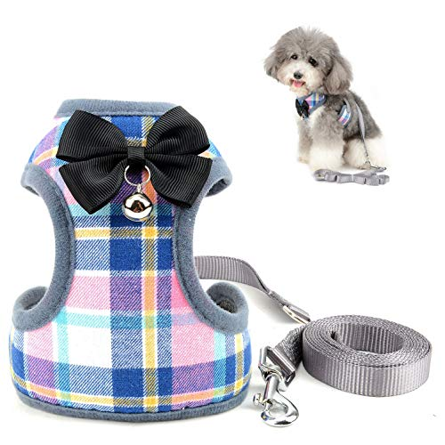 SELMAI Escape Proof Cat Harness with Leash for Small Dogs Plaid Pattern Soft Mesh Vest Harness for Walking Training Leads No Pull for Puppy Chihuahua Dachshund Hiking Jogging Outdoor Pink L