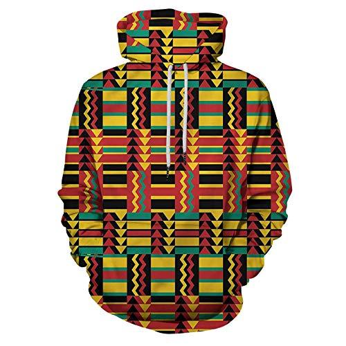 Kente Pattern Printed Hooded Sweatshirt Zimbabwe for Teens