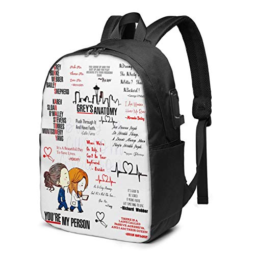 Gr-Ey'S Anatomy 17-Inch Backpack with USB Charging Port, Waterproof and Anti-Theft and Durable Computer Bag, Suitable for Office, Outdoor, Travel, School One Size