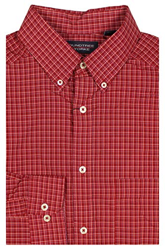 Roundtree & Yorke Big and Tall Luxury Cotton Men's Long Sleeve Shirt (Berry Red 305, Large Tall)