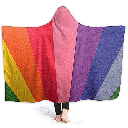 Henry Anthony Bunter Regenbogen Natürliche Micro Fleece Decke Throw Twin Größe Extra Soft Komfortable Hoodie Mantel für Indoor Outdoor 50x40 Zoll