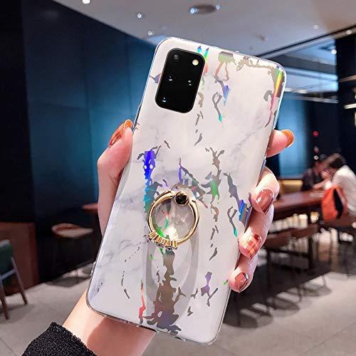NSSTAR Compatible avec Samsung Galaxy S20 Plus Coque 3D Motif Marbre Coque Souple TPU Case avec Support Bling Glitter Diamant Strass Coque Silicone Ultra-Mince Antichoc Bumper Etui,Blanc