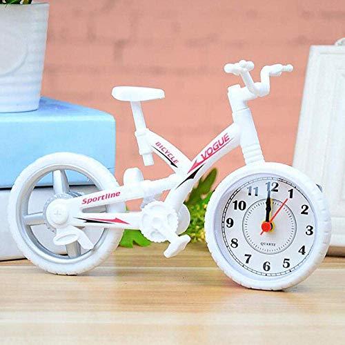 Reloj Despertador para Niños Reloj Despertador con Forma De Bicicleta Mesa Dormitorio para Niños Regalos para El Hogar Decoración De Escritorio Elegante Mute Oficina para Niños Funciona con Pilas-Neg