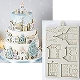 SHEANAON Casa de Pan de Jengibre de Navidad Molde de Silicona Molde de Fondant Herramientas de decoración de Pasteles Utensilios de Cocina de Chocolate