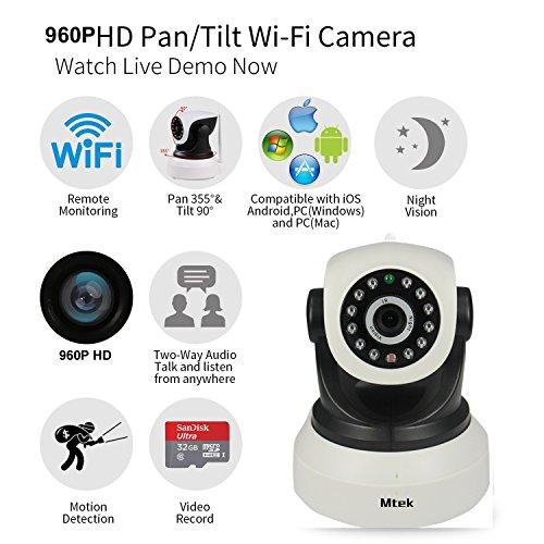 IP WiFi P2P Cámara Video Vigilancia IR Nocturna HD 960P 1,3 MP con detección de movimientos. MarvTek Micrófono y altavoz. Resolución HD 1280 * 960P Rotación Horizontal de 355º y Vertical de 90º.