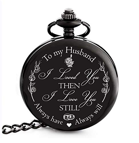 Valentines Gifts for Him / Husband / Men | Engraved 'To my Husband' Pocket Watch | Gift for Husband from Wife for Anniversary / Birthday / Happy Wedding Anniversary!