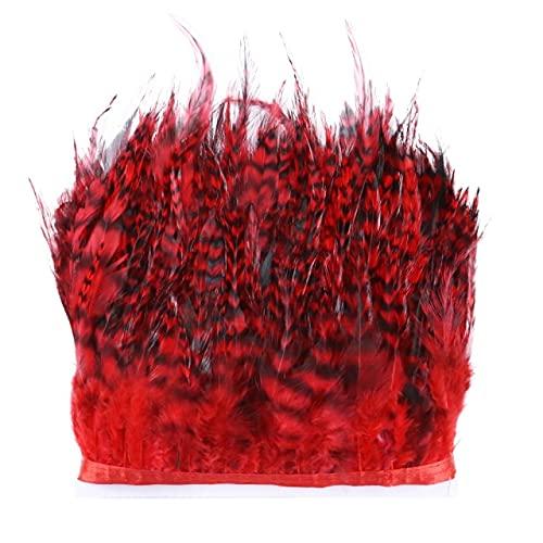 LINGP 1 Metro de Gallo Natural Silla de Montar Plumas Recortar Flecos 4-6 Pulgadas DIY Costura Ropa de Fiesta Accesorios de decoración de Plumas de Pollo