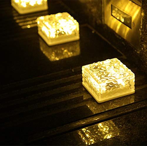 XingTong Solar Ice Cube Lights - Solar Brick Lights Outdoor Waterproof Brick Light Lamp for Outdoor Garden Courtyard Pathway, Christmas Festives Decorative Ice Rock Cube Lights(Warm White)(4Pcak)