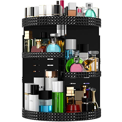 Famitree Rotating Makeup Organizer, Acrylic Perfume Organizer, 7 Adjustable Layers Large Capacity Cosmetic Carousel, Fits Different Cosmetics and Toiletries,Plus Size (15in-black, black)