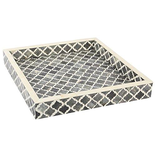 Handicrafts Home Plateau décoratif - Petit Déjeuner - Dessus de table à café Maure Marocain - Motif fait à la main - 4 feuilles d'incrustation d'os - tout usage, 30,5 x 30,5 cm , Résine, Gris et blanc, 12x12